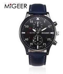 Relógio Masculino Migeer Azul Couro, Casual Caixa Brinde
