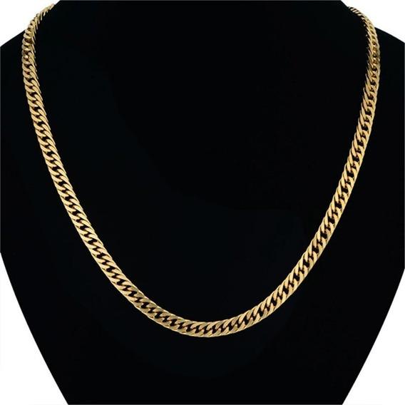 Corrente Banhada A Ouro 18k 71cm X 7mm Alta Qualidade
