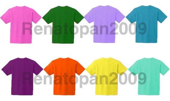 2 Franelas Unicolores Para Niños 100% Algodon