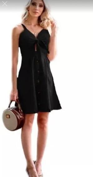 Kit 3 Vestido De Linho Midi Botões Com Bojo E Alça Fina Moda Verã