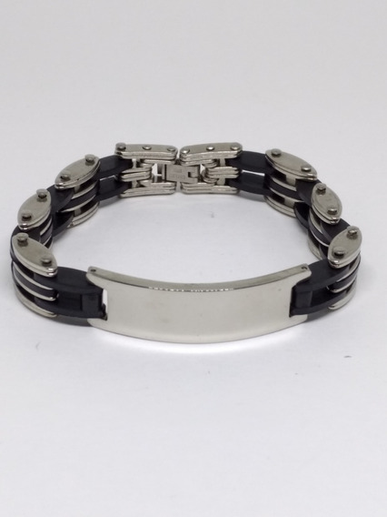 Pulseira Masculina Bracelete Prata Prateada Trabalhada C818