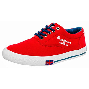 Tenis Sneaker Pepe Jeans Riven Niños Textil Rojo Dtt 20256