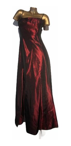 Vestido De Fiesta Largo Mujer Raso Tornasolado Y Mostacillas