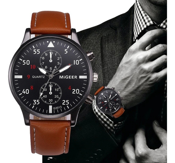 Relógio Luxo Masculino Oferta Social Pulseira Couro Marrom