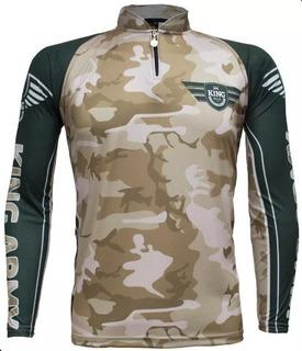 Camisa Camiseta Pesca King Proteção Uv Kff 301 Camuflada