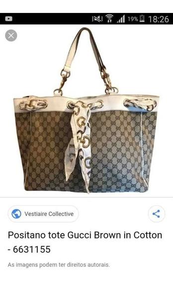 Positano Tote Gucci Gg Brown In Cotton Original