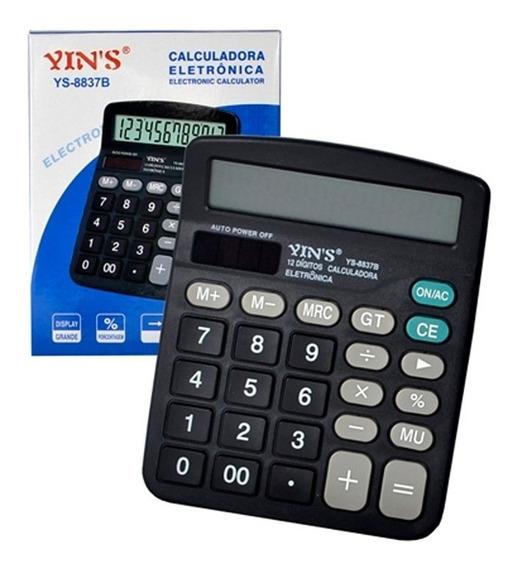 Calculadora Mesa 12 Dígitos Display Grande Ys-8837ba Pilha