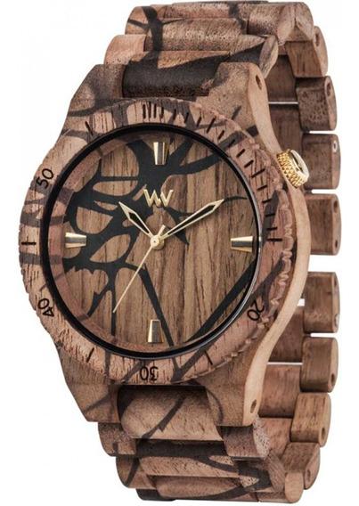 Relógio De Madeira Wewood Alpha Nature Three Nut - Wwa07