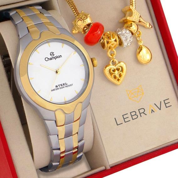 Relógio Champion Feminino Dourado Prata Joias Colar Brincos