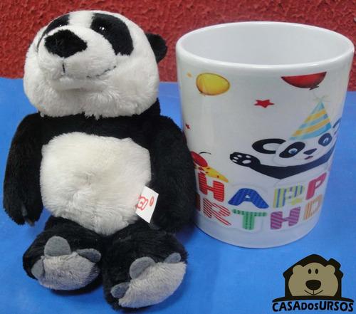 Imagem 1 de 6 de Caneca Porcelana Com Urso Panda 15cm Pelúcia Nici Original