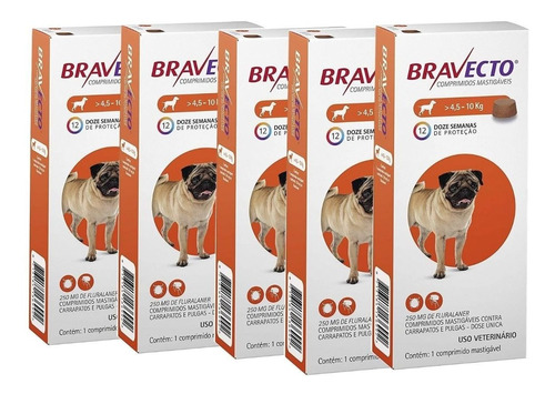 Kit Com 5 Antipulgas Bravecto Para Cães De 4,5 A 10 Kg - 250