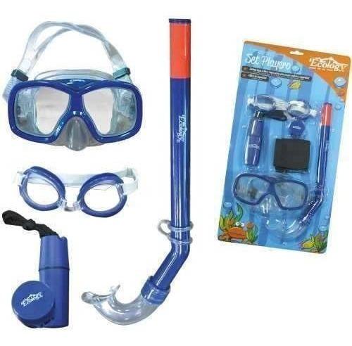 Juguete Playero Buceo Careta + Snorkel Color Azul Ecology