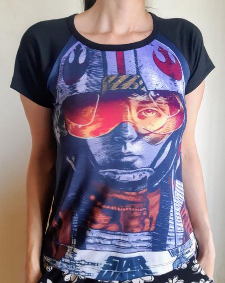 Camisetas Feminina Raglan Filmes, Star Wars.