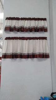 Cortina De Cocina Mod. Fija Tela Sena Color Nieve