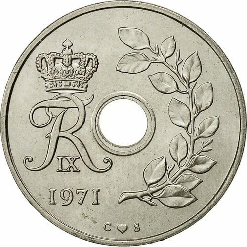 Dinamarca 25 Ore 1971 - Espigas - Frederik Ix - Km#855.1