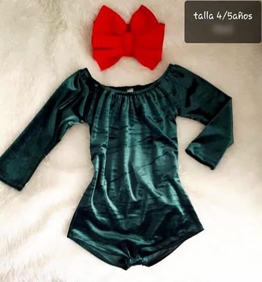 Pañalero Body Verde Velvet + Diadema Moda