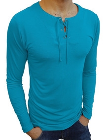 Camisa Bata Básica Masculina Manga Longa Viscose Elastano