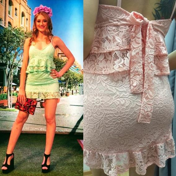 Vestido Corto Fiesta Encaje 2 Partes A Todo El País