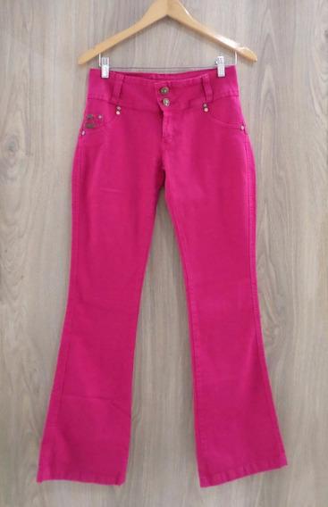 Calça Jeans Kamdesh Hot Pants Flare Preta Pink Caramelo