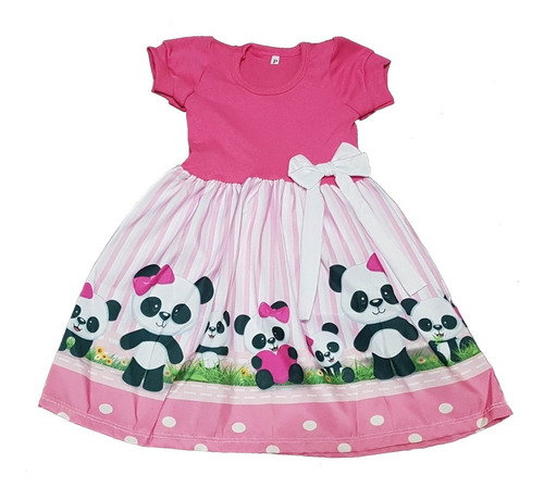 Vestido Infantil Ursinha Panda Manga Curta Ou Longa Fab2