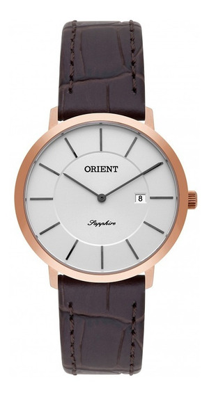 Relógio Orient Feminino Couro Vidro De Safira Frscs001-s1mx