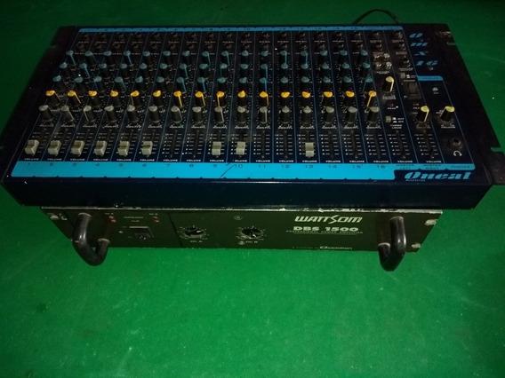Mesa De Som Com Amplificador De 1.500 Com 2 Caixas