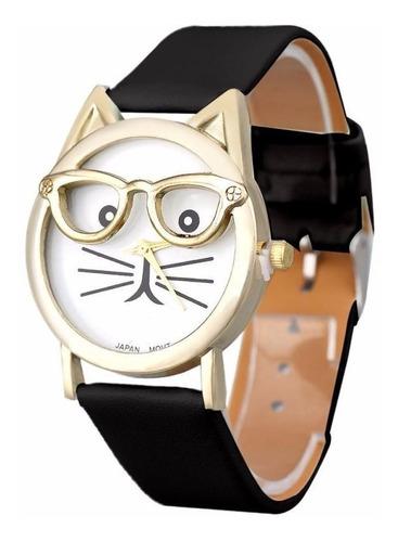 Relógio Gatinho De Óculos Pulseira Preta Bonito E Barato