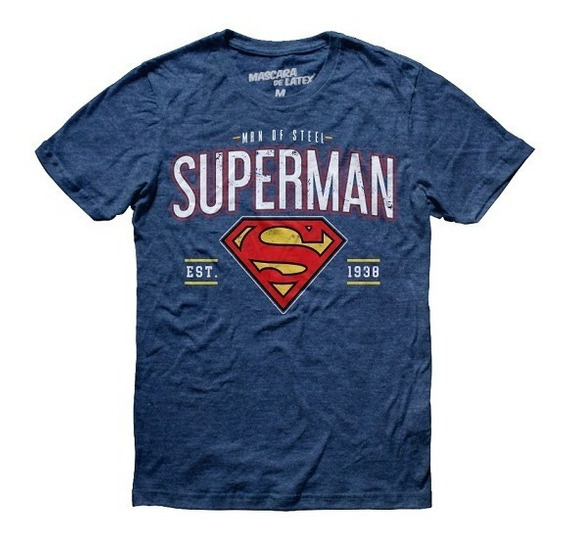Playera Hombre Team Superman Logo Dc Comics Máscara De Látex