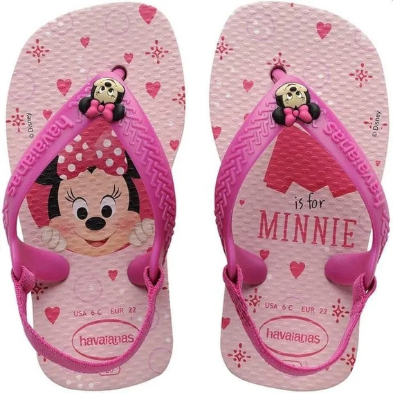 Chinelo Havaianas New Baby Classics Minnie - Rosa Cream