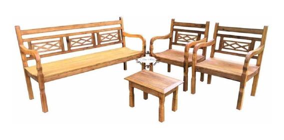 Jogo Rustico 5 Lugares + Mesa+ 5 Almofadas
