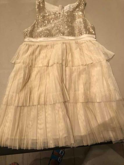Vestido Niña Talle 10 Cheky -plisado Raso Lentejuelas Tul