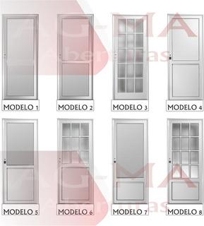 Puerta Aluminio Blanco Repartido Lateral 80 X 2