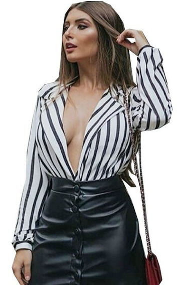 Body Blazer Blusa Decote Feminino Listrado Manga Moda 2019