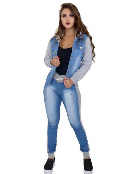 Conjunto Calça Jeans E Jaqueta Jeans Moletom Capuz. Ref: 640