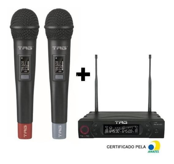 Microfone Profissional Duplo Sem Fio Digital Tag Tg-8802 Uhf