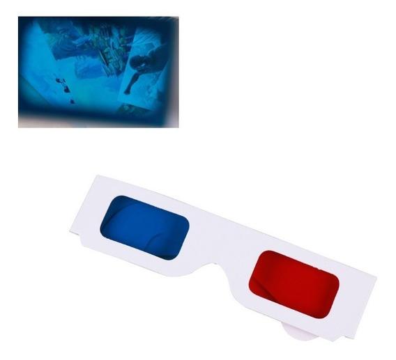 100 Óculos 3d Red/blue Papel Cartão Laminado Cinema Tv Jogos