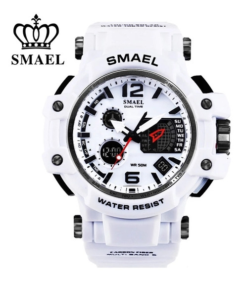 Relógio Masculino Smael 1509 Dual Time Branco Frete Grátis