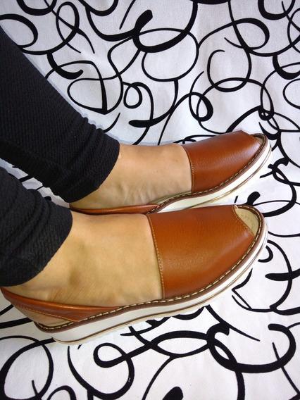 Sandalia Calzado 100% Cuero Color Miel Mujeres Envío Gratis