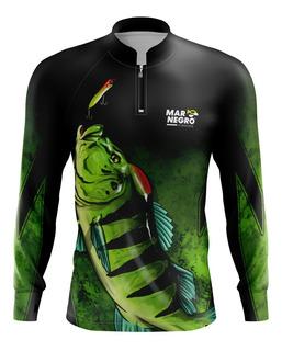 Camisa Camiseta Pesca Mar Negro Proteção Solar Dry Fit Blusa