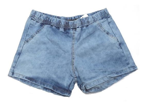 Kit Short Jeans Feminino Cintura Elástica Mulherão 3 Unidade