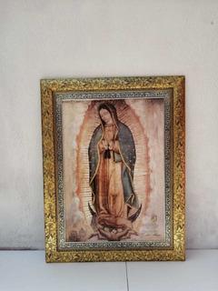 Cuadro De La Virgen De Guadalupe Con Marco Hoja De Oro