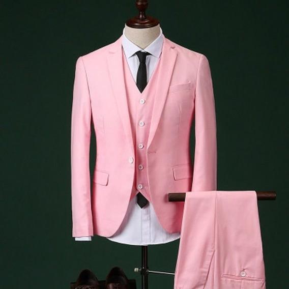 Ternos Masculinos Slim Rosa Paletó E Calça