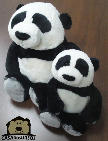 Casalzinho De Ursos Panda 35cm + 25cm Importado Alemao Nici