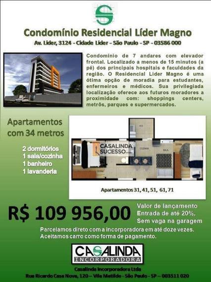 Studio Com 2 Dormitórios À Venda, 34 M² Por R$ 109.956 - Itaquera - São Paulo/sp - St0028