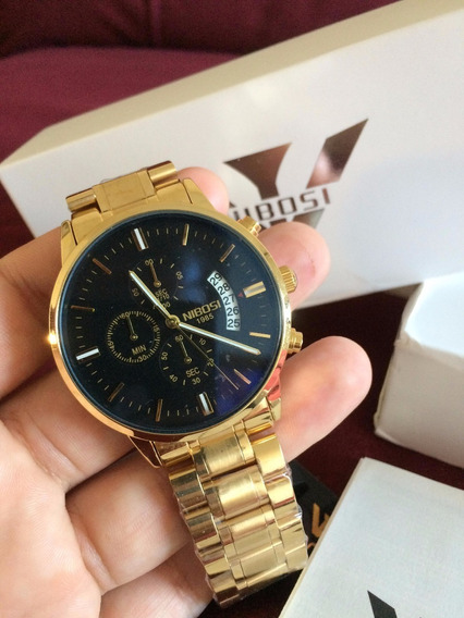 Relógio Nibósi Dourado 100% Funcional Original Na Caixa