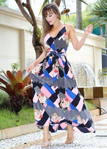 Vestido Largo De Crepé Geométrico Floral Boutique 2ble Forro