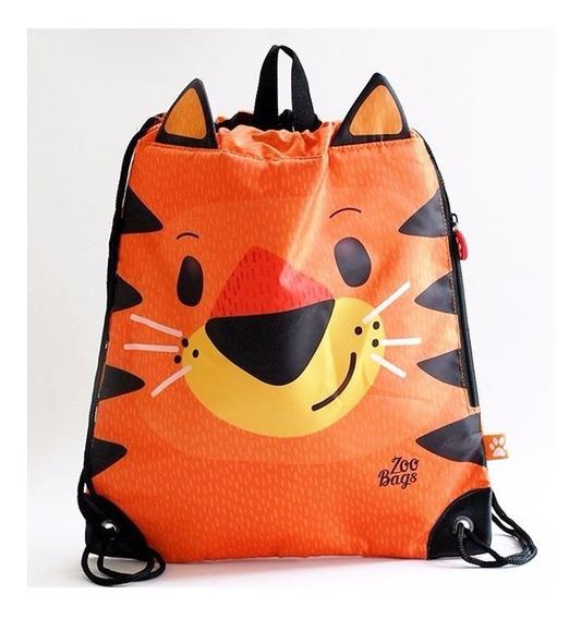 Bolso Infantil Zoo Bags Modelo Tigre Animales 38x30cm