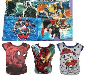 5 Camiseta Regata Infantil De Super Heróis+kit 10 Cuecas