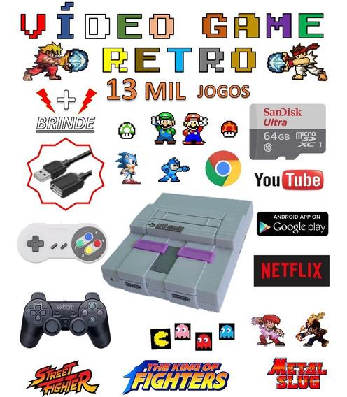 Video Game Retro Smart 64gb Com 2 Controles Jogos Antigos