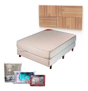Combo Sommier Piero Foam 2 P + Respald + Acolch+ Almohada
